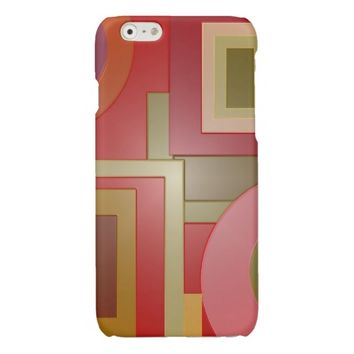 Mod Red Squares Circles Glossy iPhone 6 Case