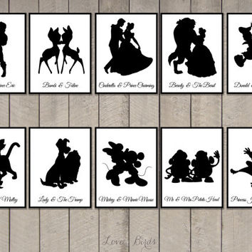 Disney Couple Cards Silhouette (tabel cards wedding) - set of 20 - Digital file