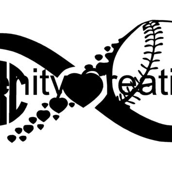 Baseball Softball Infinity Monogram Vinyl Decal