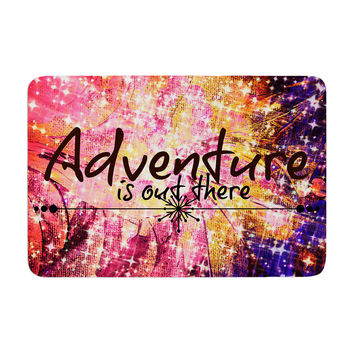 """Ebi Emporium """"Adventure is Out There"""" Pink Typography Memory Foam Bath Mat"""