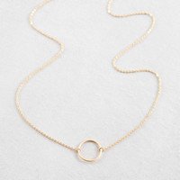 14K Circle Charm Necklace
