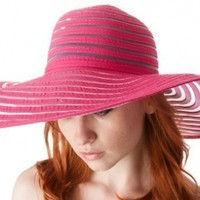 Womens UPF 50+ 100% Polyester Striped Wide Brim Floppy Hat