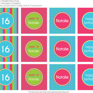 Sweet 16- Personalized Cupcake Toppers- print your own