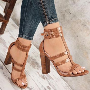 Sonya Croc Embossed Strappy Sandals 2 Colors