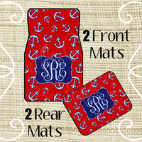 Custom Personalized Set of Car Floor Mats - Front and Rear Back, Monogrammed Car Mats, Anchor, Nautical, ANY color