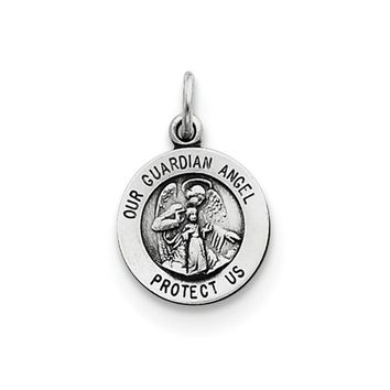 Sterling Silver Antiqued Guardian Angel Medal Charm, 11mm