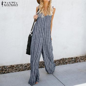 2018 Summer ZANZEA Women Sexy Deep V Neck Striped Jumpsuits Sleeveless Overalls Rompers Casual Loose Work OL Wide Leg Pants 5XL