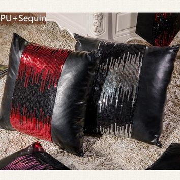 New Fashion High Quality European Sequin PU Leather Patchwork Home Pillow Decoration Cushions Home Decor For Sofa Free Shipping