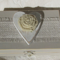 Rustic Romantic Burlap Wedding Ring Bearers Box Heart Flower Divided HIS HERS
