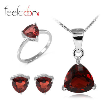 6 ct Natrual Garnet Ring Earring Pendant Necklace Jewelry Sets 925 Solid Sterling Silver Trillion Shape Gemstone Women Gift