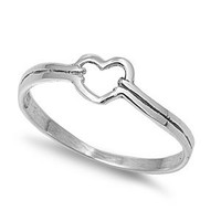 Polished Sterling Silver Delicate Heart Ring
