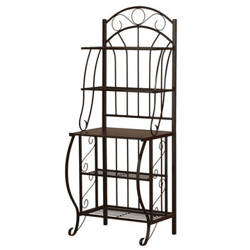 Dark Brown Metal 5-Tier Bakers Rack with Solid Wood Middle Shelf