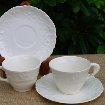 Pope Gosser Demitasse Cups and Saucers Rose Point by Steubenville White on White Cups and Saucers