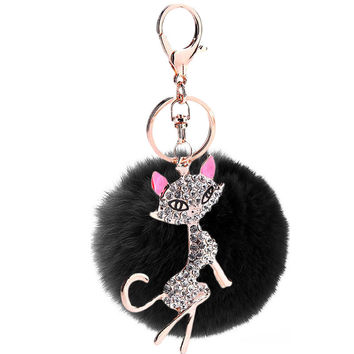 Rabbit Fur Cat Ball Keychain Ring For Purse or Wallet