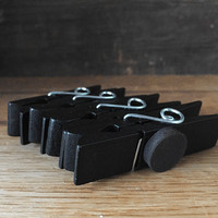 4 black clothespin magnets. Diy chalk magnets. Wide clothes pins, Kitchen magnets. Rustic decor, kids artwork clips, wood memo clips