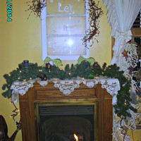 """Vintage window altered """"Let it Snow"""" hand painted on it with snow flakes, glisten with glitte, primitive red berries on top"""