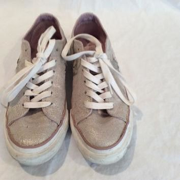Vintage Sparkling Silver Converse Low Top Sneakers US Size 6 Tennis Shoes Wedding Pink