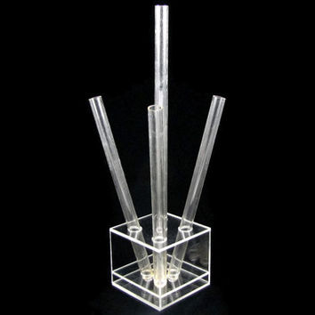 Totally Tubular - Modernist Lucite Vase, Modular Tubes in a Cube Base, Vintage 1970s Mid Century Modern Home Decor, Table Centerpiece