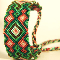 Green & Red Diamond Pattern Knotted Friendship Bracelet - Great Christmas Stocking Stuffer