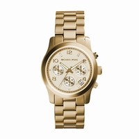Michael Kors Runway Yellow Gold-Toned Stainless Steel Ladies Chronograph Watch