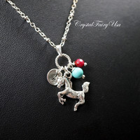 Children Necklace - Initial Necklace - Birthstone Horse Necklace Silver -