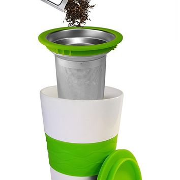Premium Tea Infuser And Mug Set, Brew-In-Mug Stainless Steel Tea Strainer, Ceramic Mug with Silicone Lid, Perfect for Steeping Loose Leaf Tea (Green)