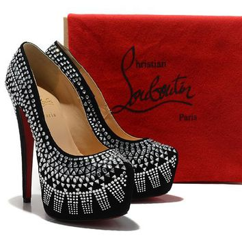 Christian Louboutin Fashion Edgy Sequin Diamond Red Sole Heels Shoes