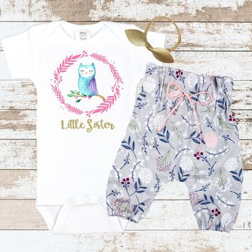 Gold Little Sister OWL Newborn outfit