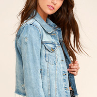 Can't Wait Blue Distressed Denim Jacket