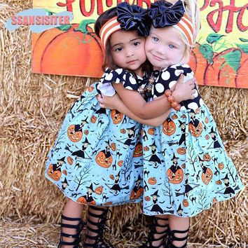 Baby Girls Halloween Dress Sleeveless Polka Dot Pumpkin Print Patchwork Princess Girls Dress Toddler Kids Holiday Party Costume
