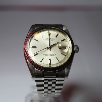 Vintage Rolex Datejust Mens 1603 Automatic S.Steel Watch 1980,s