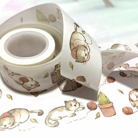 cute cat sticker 1 roll  lazy cartoon cat washi tape 7M cat playing yarn cat theme deco masking sticker tape pussy cat little gift 2018