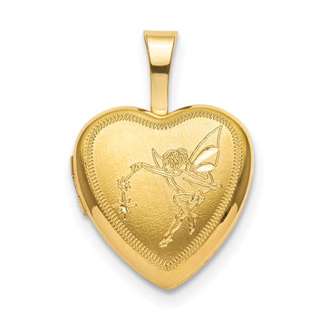 Sterling Silver Gold-plated 12mm Fairy Heart Locket QLS831