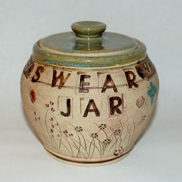 Handmade Stoneware Pottery Fun Swear Jar