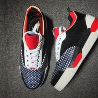 KUYOU Christian Louboutin red low-top sneakers for men and women 90519