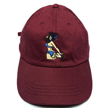 Tip Drill Cap in Burgundy