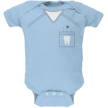 Halloween Dentist Scrubs Costume Light Blue Soft Baby One Piece