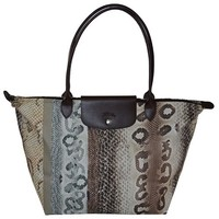 Long Champ Paris Reptile SH Toile Tote Bag Handbag