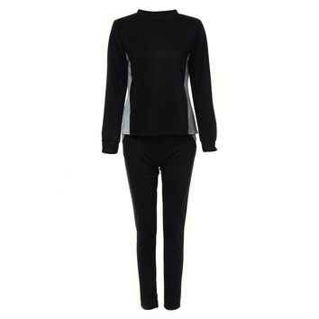 Stylish Round Collar Long Sleeve Color Block Zippered Sweatshirt + Drawstring Loose-Fitting Pants Twinset for Ladies