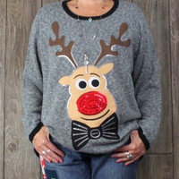 Cute Ugly Christmas Sweater 3x size Holiday Time Big Eyed Rudolph Sequins Mens Womens