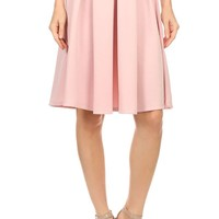 Career Solid Boxy Pleated Banded Waist Stretch A-Line Midi Flare Skirt