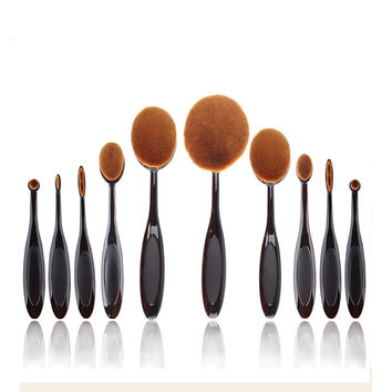 10 Pcs Oval Toothbrush Brand Makeup Brushes Foundation Powder Contour Kabuki Kit Pinceis Maquiagem Brushes