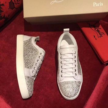 LMFNW6 Sale Christian Louboutin CL Louis Junior Strass Men's Flat White Shoes