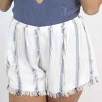 Ivory + Blue Stripe Shorts