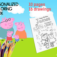 Personalized Peppa Pig Coloring Book Digital Printable A5 10 pages 16 drawings for Children Birthday Souvenirs