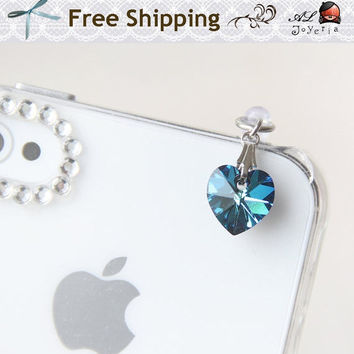 Choose your color. Swarovski Crystal Bermuda Blue Heart Cell Phone Charm. iPhone Accessories. iPhone Earphone Plug. Free Shipping.