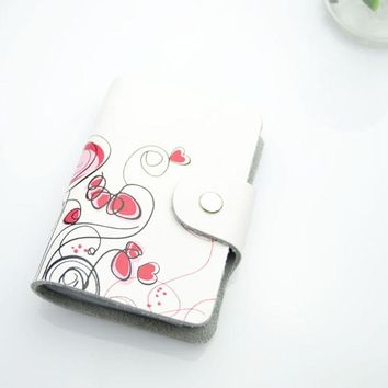 Genuine Leather Print Women Business Card Holder 11 Colors ID Card Credit Card Holder Protector Organizer Card Wallet