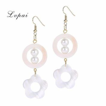 CREYMS9 Elegant Shell Geometric Drop Dangle Long Flower Round Chain Earrings