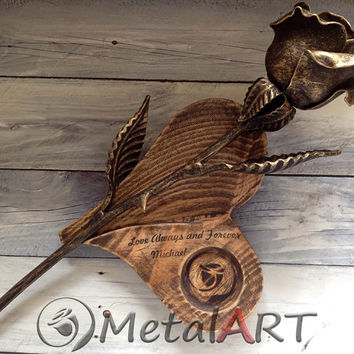 Personalized 6th Anniversary gift for Wife - Metal Rose + Wood Stand candlestick/ 6 year wedding anniversary/ Metal Sculpture/ Steel Rose