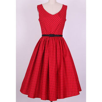 Red Vintage V-Neck Polka Dot Printed Midi Dress